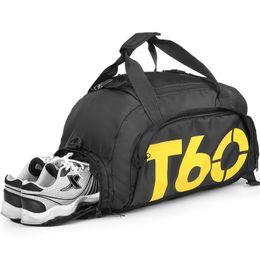 2019 водонепроницаемая сетчатая ткань T60 новый мужчины спорт тренажерный зал сумка женщины фитнес водонепроницаемый открытый отдельное пространство для обуви сумка рюкзак скрыть рюкзак