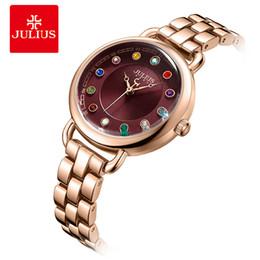 2019 gli orologi di luglio Julius Top Luxury Diamond Women Watches Fine 12 colori orologio da polso al quarzo con strass da donna Orologio da polso in acciaio inossidabile sconti gli orologi di luglio