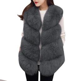 Wholesale Hot Pink Faux Fur Coat - 2017 HOT Women Fur Vest Coat Thick Fluffy Warm Woman Faux Fox Fur Vest Coat Jackets O-Neck Manteau Fourrure Femme 3XL Plus Size