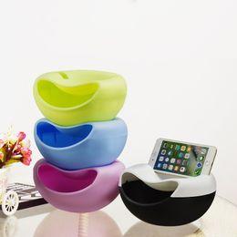 Creativo Lazy Fruit Dish Snacks Tuerca Semillas de melón Bowl de doble capa de plástico placa de caramelo cáscaras conchas bandeja de almacenamiento escritorio decoración desde fabricantes