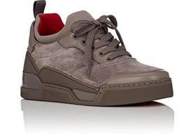 Wholesale white lace wedding flat shoes - 2018 Famous Designer Men Wedding Shoes Red Bottom Sneakers Men Shoes Aurelien Flat Sneakers Low-top suede trainers Outdoor Walking Sneaker