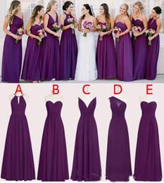 dos vestidos de dama de honor morados Rebajas 2019 gasa púrpura vestidos de dama de honor piso de longitud una línea de boda largo vestidos de dama de honor por encargo sin mangas vestidos de dama de honor