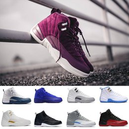 Wholesale Dark Wolf - 2018 Bordeaux 12 men Basketball shoes XII 12s Dark grey the master GS Barons Wolf Grey flu game taxi playoff gym red Sneakers