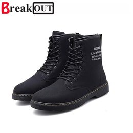 shoe broken toe Promo Codes - Break Out Spring Autumn Lace-Up Men's Canvas Shoes Man Buckle Casual Ankle Boots Winter Fashion Leather Shoes Men Flats