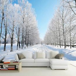 Wholesale black white vintage wallpaper - Custom 3D Photo Wallpaper Modern Winter Scenery Snow Road White Tree Wall Mural Wallpaper For Bedroom Walls Murales Para Pared