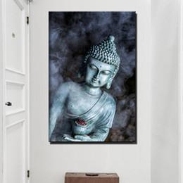 Pinturas religiosas lienzo online-Humo Vape Estatua de Buda Budismo Pinturas en lienzo Gran tamaño Religioso Buda Wall Posters For Living Room Decoración de pared Sin marco