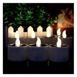 Électronique solaire LED lampe veilleuse jaune bougies sans flammes clignotantes pour le camping en plein air ? partir de fabricateur