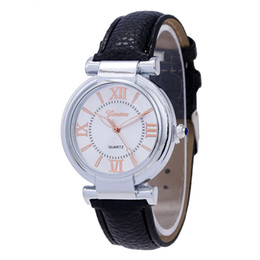 Wholesale Geneva Hours - Luxury Ladies watch Fashion Geneva Watches Roman Numerals Leather Quartz Watch Women Casual Wrist Watch relogios feminino Hours
