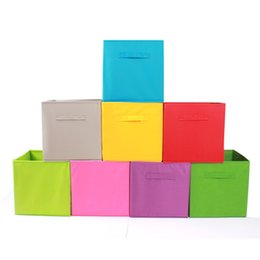 Wholesale Hot Box Clothing - High Capacity Toy Clothes Storage Box Candy Color Non Woven Folding Storages Boxs Hot Sale 5 8dn C R