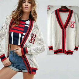 Wholesale Thin Wool Coat - Spring Summer 2018 New Women Knitwear Little Bees Embroidered Color V-Neck Long Preppy Style Loose Knit Sweater Women's Cardigan Coat