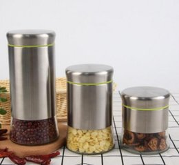 Wholesale Stainless Steel Food Container Wholesale - Glass Stainless Steel Sugar Pot Bottles with Lid Organizer Tea Coffee Spice Storage Jar for Kitchen Food Container