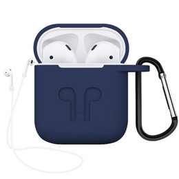 Canada Pour Apple AirPods Etui de protection en silicone antichoc de protection avec anti-perte de la sangle bouchon de la poussière paquet de détail pour iPhone 7 Bluetooth écouteur Offre