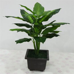 Wholesale Tree Pots Plastic - Large 50CM Evergreen Artificial Plant 25 Leaves Lifelike Bush Potted Plants Plastic Green Tree Home Garden Office Decoration