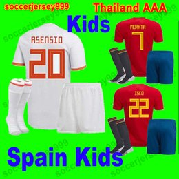 Wholesale Black Shirts Boys - MORATA ASENSIO ISCO SILVA Spain soccer jersey KIDS kit 2018 world cup espana football jerseys shirt uniforms camisetas chandal de futbol