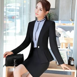 Wholesale Women Jackets For Work - 2 Piece With Jackets And Skirt Formal OL Styles For Women Business Office Work Wear Blazers & Jackets Sets Uniforms Plus Size