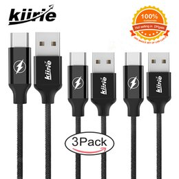 Wholesale Reversible Usb - USB Type C Cable Kiirie 3Pack (2*6ft 1*3ft) Fast Charger Nylon Braided Cord with Reversible Connector for Samsung LG Nexus Huawei Macbook