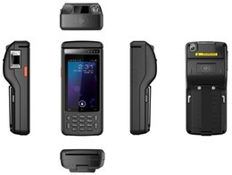 Argentina PDA Handheld Terminal con 58 mm de impresora Fingerprint 2D Laser Barcode Android 6.0 Scanner 4G Lte Rugged HF RFID MSR lector de tarjeta cheap card scanner android Suministro