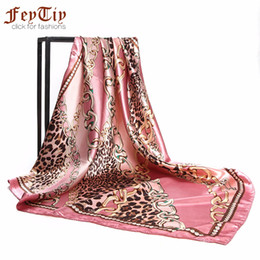 Wholesale Square Scarf Head - Pink Head Scarf Women Leopard Chain Printed Hijab Luxury Brand Scarves Fashion Square Large Shawl Foulard Neck Bag Wraps 90x90cm
