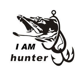 Wholesale Boat Mirror - Fishing Hunter I AM Hunter Car Boat Sticker Fish Decal Posters Car Stickers Vinyl Decor Decals