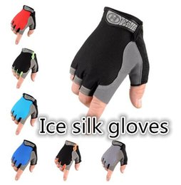 Wholesale Sunscreen Wholesalers - Fitness gloves Ice silk sunscreen half refers Cycling glove outdoor silicone anti-slip mountaineering fitness sports gloves wholesale #ST03
