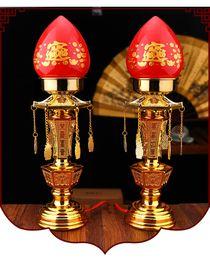 Lámpara de mesa roja online-12 pulgadas LED rojo lámpara de mesa vela para Buddha Fortuna lámpara un par de material plástico 30x8cm