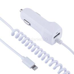 Пружина автомобильного зарядного устройства онлайн-2 USB Автомобильное зарядное устройство с двумя выходами 2.1A Max Fast + Micro USB-кабель для кабеля Android 1м USB-кабель Провод Весна Тип C