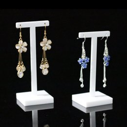Wholesale glass earring holder - Delicate Earring Display Stand Prop Jewelry Fair Trade Show Exhibition Dangling Earrings Holder White Acrylic Set of 2 pcs