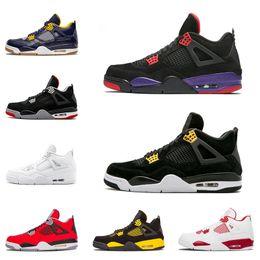 880350c66cf Nike air jordan 4 4s Chegada nova Atacado 4 4 s mens tênis de basquete NRG  oreo Raptors White Cement Fogo vermelho raça homens formadores sapatilhas  esporte ...