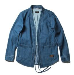 Wholesale Japanese Kimono Styles - 2017 2018 fall winter hip hop japanese kimono style unisex men open stitch vintage denim jacket Promotion
