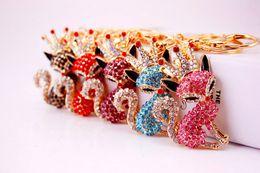 Wholesale fox bags - Crown Fox Rhinestone Keychain - Crystal womens Key Chain Ring Holder luxury keychains bag charm Llaveros llavero Wedding Favor