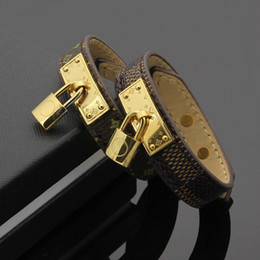 Wholesale Numbered Locks - New arrival brand name Bracelet with pad lock for women and man genuine leather bangle design in 23cm for women bracelet wedding jewelry gi