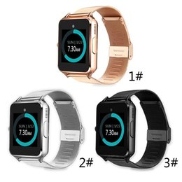 Wholesale Ios Box - Bluetooth Smart Watch Z60 Wireless Smart Watches Stainless Steel For IOS Android Support SIM TF Card Camera Fitness Tracker with Retail Box