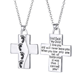 Wholesale Kids I - Foot Jesus Cross Necklace Letters My Child I Love You Pendant Fashion Jewelry Gift for Women Kids DROP SHIP 162593