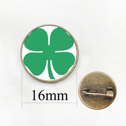 Wholesale Planting Moon Flowers - Fashion Four Leaf Clover Pin Plant Beautiful Flower Art Picture Glass Cabochon Badge Women Wedding Jewelry Lucky Brooch