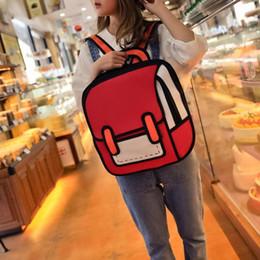 Zaino 2d online-Cute Style Cartoon Women Zaino Zaini da disegno 2D 3D Jump School Bag Ragazze Traval Zaino Mujer