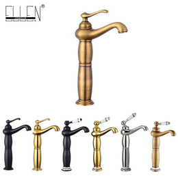 Wholesale Tall Sink Faucets - Bathroom Basin Sink Mixer Hot Cold Water Tap Tall Bath Faucet Antique Bronze