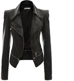 Wholesale Thin Lapel Piece Suits - 2016 Autumn And Winter Suit-dress Locomotive Leather Jacket Loose Coat Zipper Two Clothes Leather Clothing