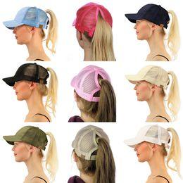 Wholesale Pink Pony Tail - Women CC Ball Cap For Lady Ponytail CC Baseball Hat Girl Softball Hats Adjustable Pony Tail Mesh Baseball CC Cap