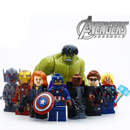8 шт. / лот Мстители Халк Тор Капитан Железный Человек Черная Вдова строительные блоки комплект игрушки детские подарки от Поставщики комплекты игрушек