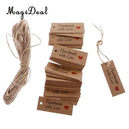 Wholesale Vintage Wedding Favor Tags - MagiDeal Fasionable 100 Vintage Kraft Paper Handmade With Love Gift Tags Wedding Favor Labels for Biscuit Soap Gift Tags Labels