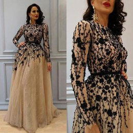 Wholesale Special Occasion Dresses Sexy - Gorgeous Beaded Evening Dresses Long Sleeves Full Lace A-line Prom Dress Champagne Custom Made Special Occasion Dress