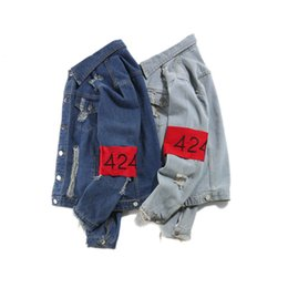 a2cf79fe23b Top Quality Jeans Jackets 424 FourTwoFour Men Hip Hop Coat Destroy Washed Distressed  Denim Jacket Chaqueta 424 denim jacket on sale
