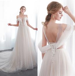 Sheer Mesh Top Lace A Line Vestidos de novia 2019 Elegante acanalado Tul con cuentas Feather Sweep Train Wedding Vestidos nupciales CPS1004 desde fabricantes