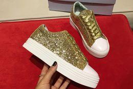 Argentina Autumn Chiara Mixcolor Glitter zapatos perezosos de las mujeres Low top Ocio Mocasines Plata Plataforma de oro Zapatos ocasionales zapatos de aumento de altura Suministro