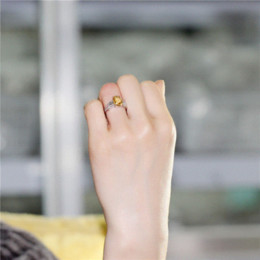 Wholesale Natural Citrine Rings - Almei 2.2CT Yellow Citrine 925 Sterling Silver Wedding Engagemant Rings Fine Jewelry for Women Made of Natural Stones 49% FJ003