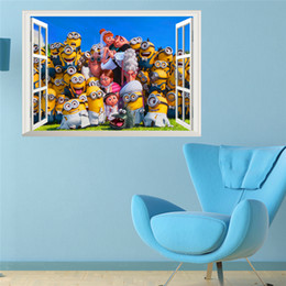 Wholesale Despicable 3d - cartoon Minions wall stickers for kids rooms decor 3d window wall decals despicable me poster diy adesivo de parede mural art