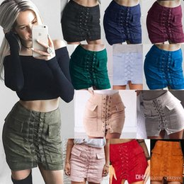 Wholesale Skinny Skirts - 2016 hot sale skirts for women12 color pocket faux suede belt joker bust skirt dresses for womens skirts
