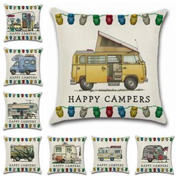 Wholesale office sofa designs - Pillow Covers Happy Campers Throw Cushion Covers Linen Sofa Home Decorative Pillowcase Office Home Decor 20 Designs Free Shipping YW897