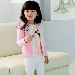 Wholesale Cardigan Childrens - Cardigan for Girls 2017 New Style Spring Autumn Girls Cardigan Cotton Lace Kids Jackets 2 3 4 5 6 7 8 Years Childrens Outerwear