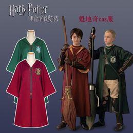 pokemon azul Desconto Harry Potter Cosplay Manto Slytherin Grifinória Magia Mantos Traje Cosplay Robe Capa para Crianças Adultas OOA5507
